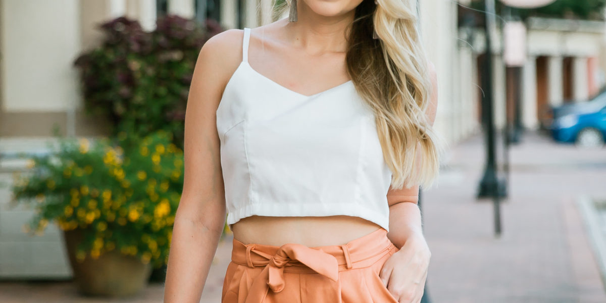 Orange High-Waisted Pants